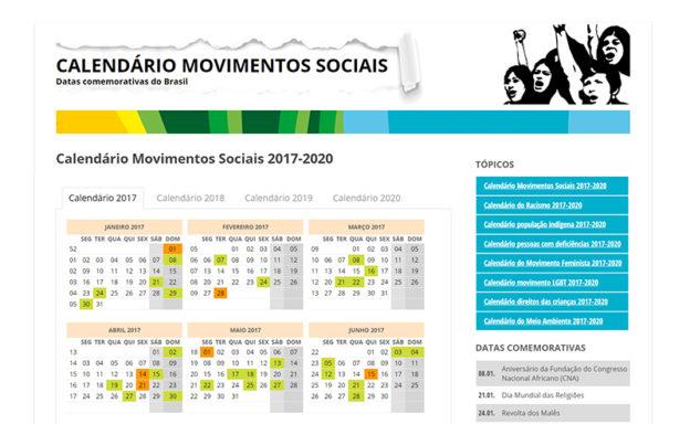 Calendario De 2020 Brasil.Calendario Dos Movimentos Sociais 2017 2020