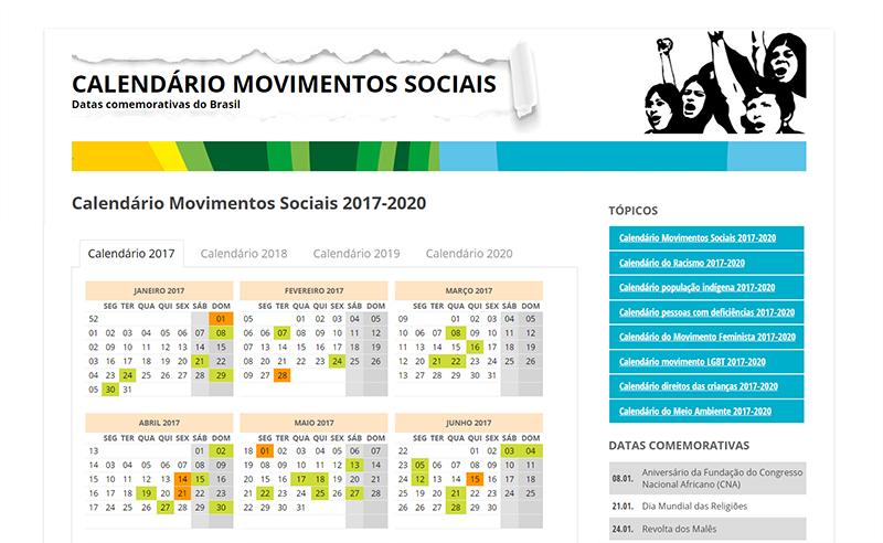 Calendario Mundial 2020.Calendario Dos Movimentos Sociais 2017 2020
